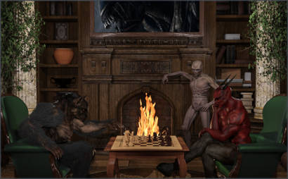 Demon Creatures Playing Chess