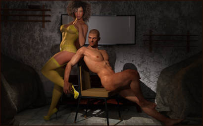 Nude Man With Model