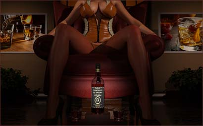 Woman Posed with Whiskey