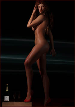 Woman Posed with Champagne